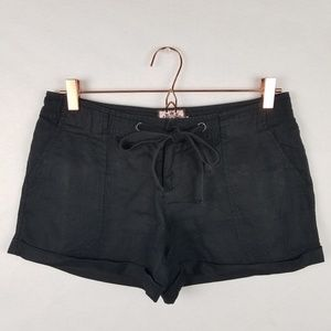 Juicy Couture S Black Drawstring Linen Shorts
